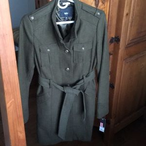 NWT Green wool trench coat